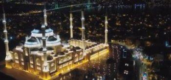 Çamlıca Cami Regaib Kandil'inde havadan görüntülendi