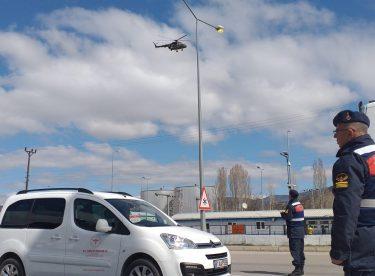 Amasya'da Helikopterle Trafik Denetimi