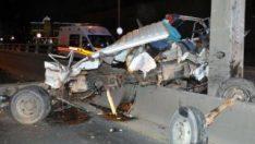 Kazada hurdaya dönen kamyondan sağ çıktı