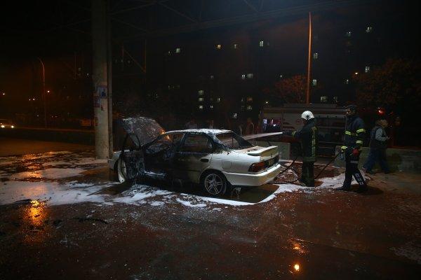 Test ettiği araç yandı