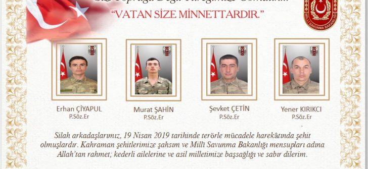Türkiye-Irak Sınırında 4 Asker Şehit Oldu, 6 Asker Yaralandı